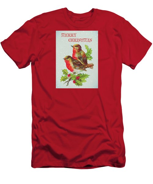 Merry Christmas Snowy Bird Couple Men's T-Shirt (Slim Fit) by Sandi OReilly