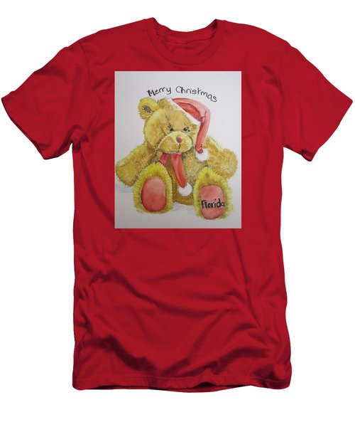 Merry Christmas Teddy  Men's T-Shirt (Athletic Fit)