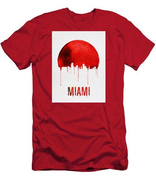 Miami Skyline Red Men's T-Shirt (Slim Fit) by Naxart Studio