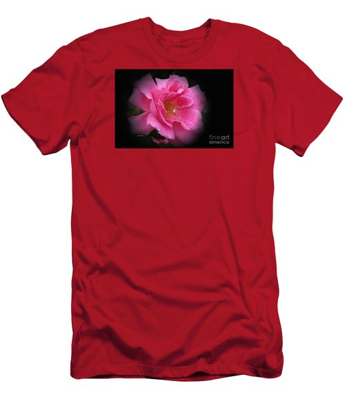 Men's T-Shirt (Slim Fit) featuring the photograph Midnight Rose by Yumi Johnson