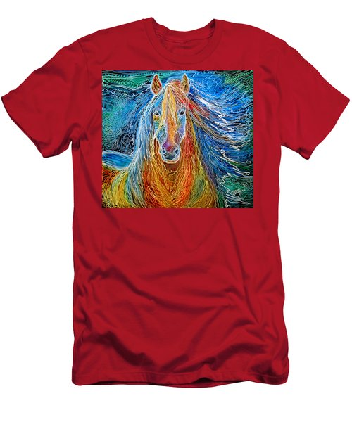 Midnightsun Equine Batik Men's T-Shirt (Slim Fit) by Marcia Baldwin