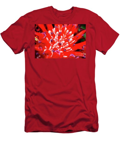 Men's T-Shirt (Slim Fit) featuring the photograph Flaming Torch Bromeliad By Kaye Menner by Kaye Menner