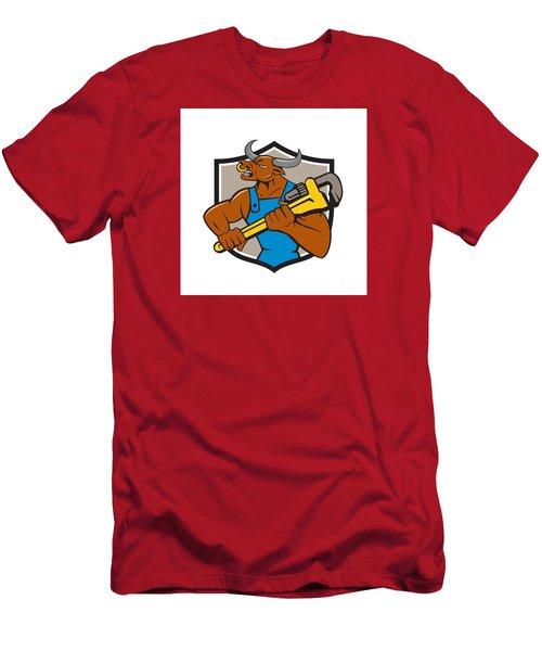 Minotaur Bull Plumber Wrench Crest Cartoon Men's T-Shirt (Slim Fit) by Aloysius Patrimonio