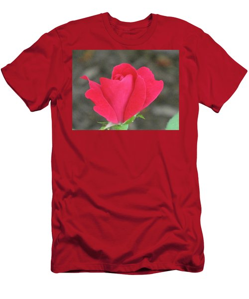 Misty Red Rose Men's T-Shirt (Slim Fit) by Michele Wilson