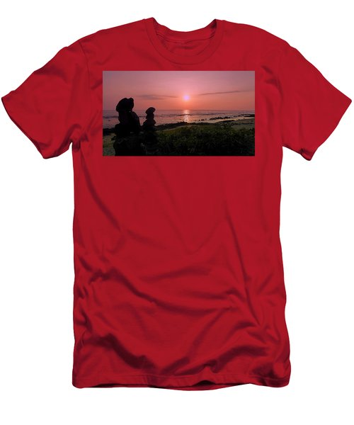 Men's T-Shirt (Slim Fit) featuring the photograph Monoliths At Sunset by Lori Seaman