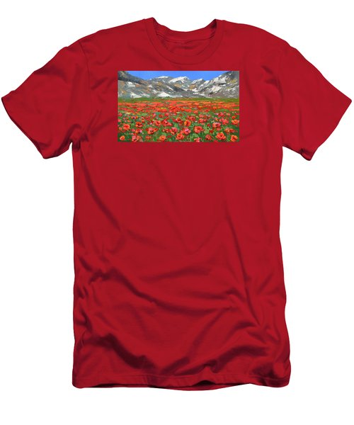 Mountain Poppies   Men's T-Shirt (Slim Fit)