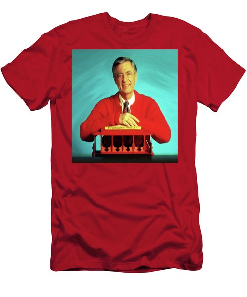 Mr Rogers With Trolley Men's T-Shirt (Athletic Fit)