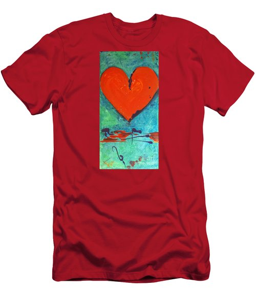 Men's T-Shirt (Slim Fit) featuring the painting Musical Heart by Diana Bursztein