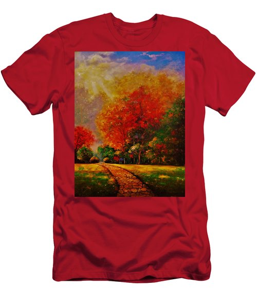 Men's T-Shirt (Slim Fit) featuring the painting My Favorite Park by Emery Franklin
