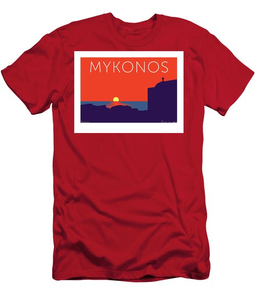 Mykonos Sunset Silhouette - Orange Men's T-Shirt (Athletic Fit)