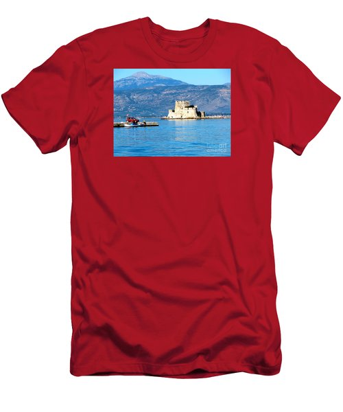 Men's T-Shirt (Slim Fit) featuring the photograph Naflion Greece Harbor Fortress by Phyllis Kaltenbach