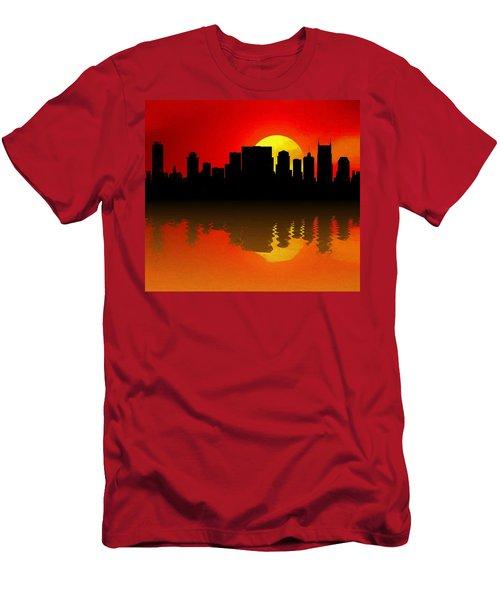 Nashville Skyline Sunset Reflection Men's T-Shirt (Slim Fit) by Dan Sproul