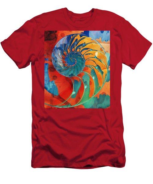 Nautilus Shell Orange Blue Green Men's T-Shirt (Athletic Fit)