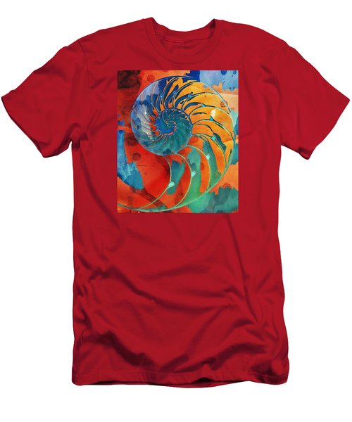 Nautilus Shell Orange Blue Green Men's T-Shirt (Athletic Fit)