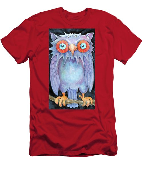 Men's T-Shirt (Slim Fit) featuring the painting Night Owl by Lora Serra
