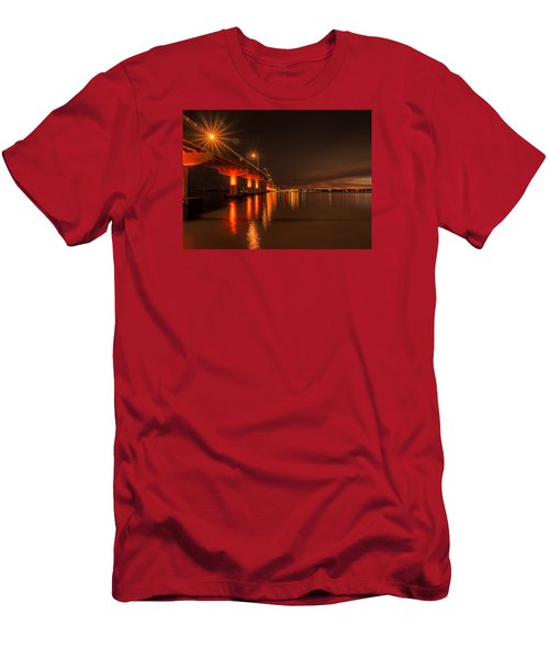 Night Time Reflections At The Bridge Men's T-Shirt (Slim Fit) by Dorothy Cunningham