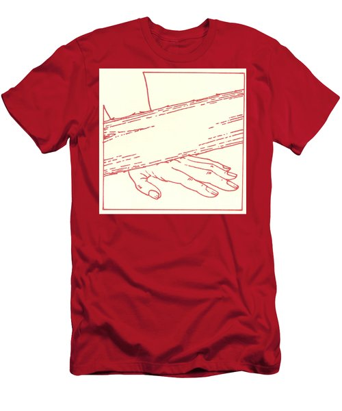Men's T-Shirt (Athletic Fit) featuring the drawing Ninth Station- Jesus Falls The Third Time by William Hart McNichols