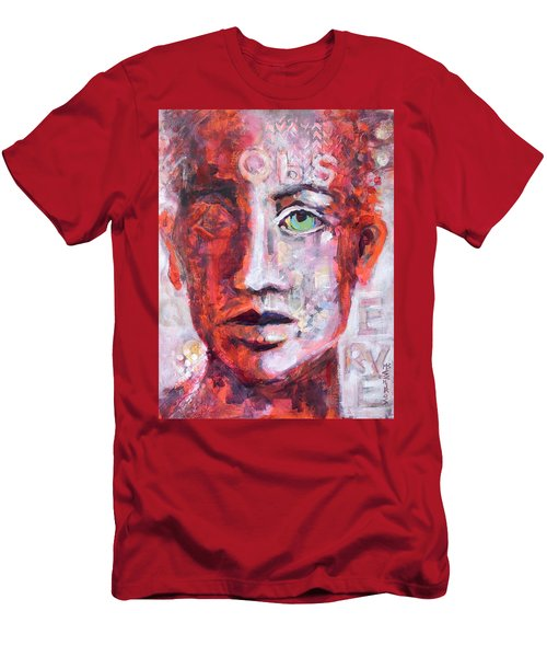 Men's T-Shirt (Slim Fit) featuring the painting Observe by Mary Schiros