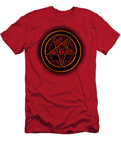 Occult Magick Symbol On Red By Pierre Blanchard Men's T-Shirt (Slim Fit) by Pierre Blanchard