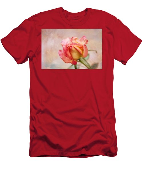 Men's T-Shirt (Slim Fit) featuring the photograph Oil Painted Rose by Joan Bertucci