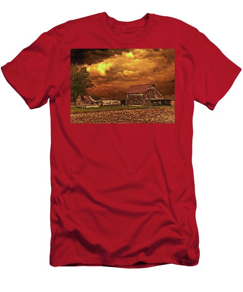 Men's T-Shirt (Athletic Fit) featuring the digital art Old Barn At Sunset by PixBreak Art