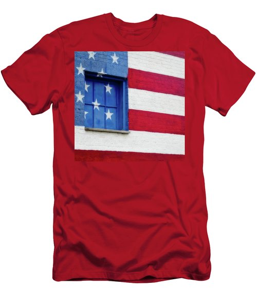 Old Glory, American Flag Mural, Street Art Men's T-Shirt (Athletic Fit)