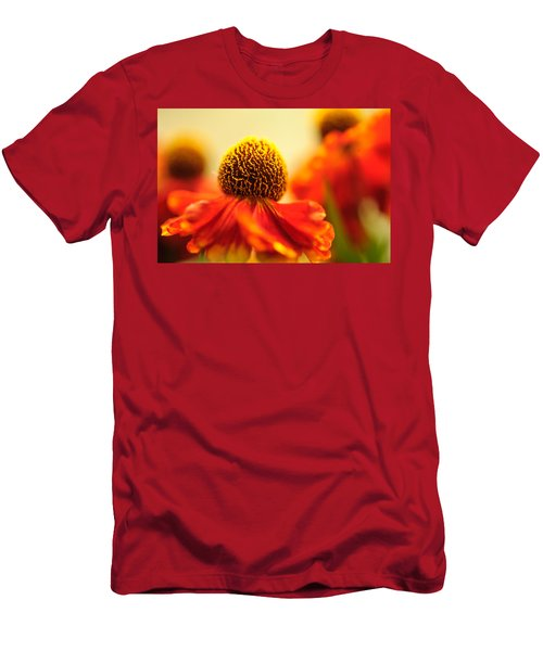 Men's T-Shirt (Athletic Fit) featuring the photograph Orange Glow. Rudbeckia Macro by Jenny Rainbow