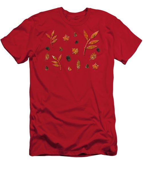 Orange Leaves Pine Cones Men's T-Shirt (Athletic Fit)