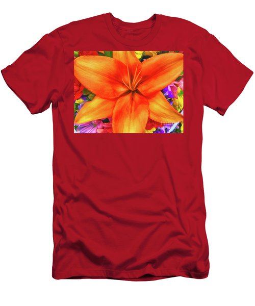 Men's T-Shirt (Slim Fit) featuring the painting Orange Lilly Art by Deborah Benoit