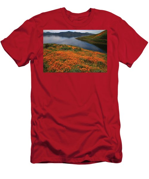 Men's T-Shirt (Slim Fit) featuring the photograph Orange Poppy Fields At Diamond Lake In California by Jetson Nguyen