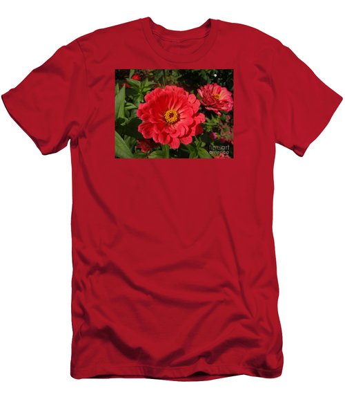 Orange Red Zinnia Men's T-Shirt (Slim Fit) by Rod Ismay