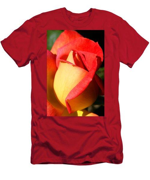 Orange Rosebud Men's T-Shirt (Slim Fit) by Ralph A  Ledergerber-Photography