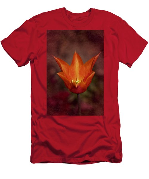 Men's T-Shirt (Slim Fit) featuring the photograph Orange Tulip by Richard Cummings