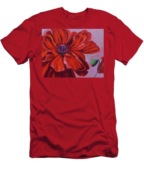 Oriental Poppy With Bud Men's T-Shirt (Athletic Fit)