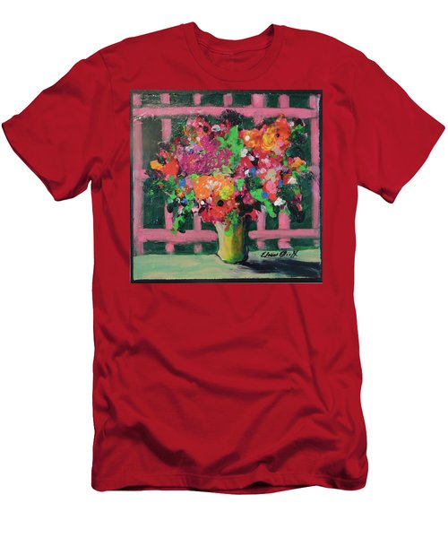 Men's T-Shirt (Slim Fit) featuring the painting Original Bouquetaday Floral Painting By Elaine Elliott 59.00 Incl Shipping 12x12 On Canvas by Elaine Elliott