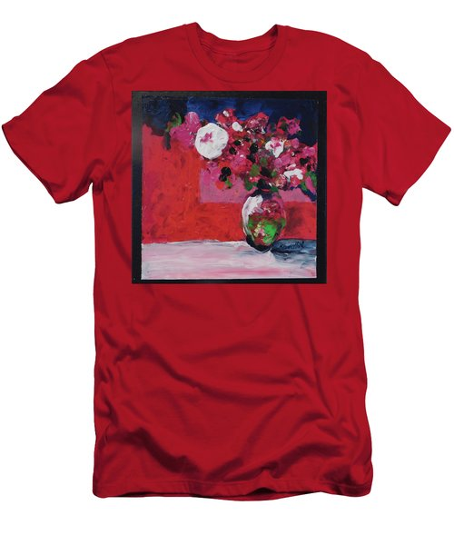 Men's T-Shirt (Slim Fit) featuring the painting Original Floral Painting By Elaine Elliott, 12x12 Acrylic And Collage, 59.00 Incl. Shipping, Contemp by Elaine Elliott