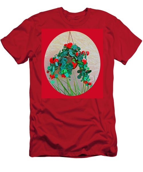 Oval Hanging Geraniums Basket With Red Background Men's T-Shirt (Athletic Fit)