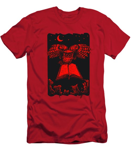 Owl And Friends Redblack Men's T-Shirt (Slim Fit) by Retta Stephenson