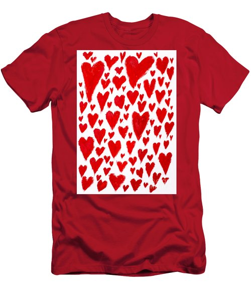 Painted Red Hearts Men's T-Shirt (Athletic Fit)