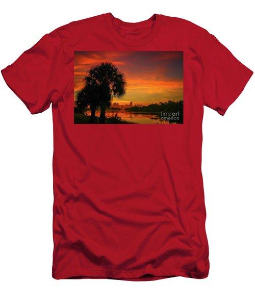 Palm Silhouette Sunrise Men's T-Shirt (Athletic Fit)