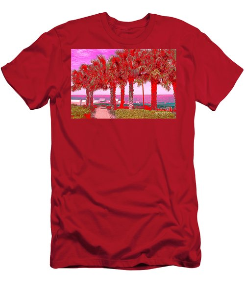 Palms In Red Men's T-Shirt (Athletic Fit)