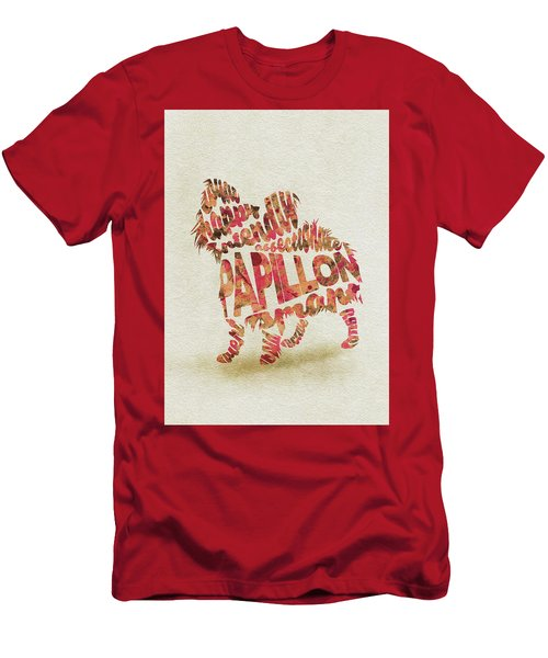 Men's T-Shirt (Athletic Fit) featuring the painting Papillon Dog Watercolor Painting / Typographic Art by Ayse and Deniz
