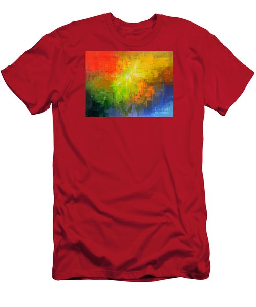 Men's T-Shirt (Slim Fit) featuring the painting Passionate Plumage by Tatiana Iliina