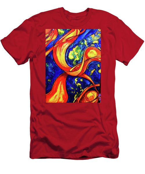 Men's T-Shirt (Slim Fit) featuring the painting Peaceful Coexistence by Rae Chichilnitsky