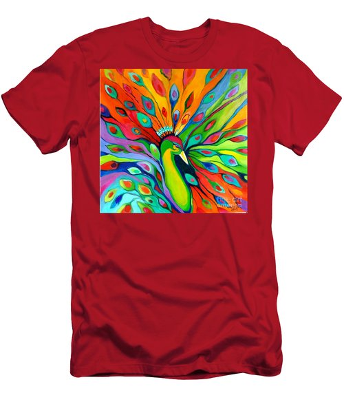 Men's T-Shirt (Slim Fit) featuring the painting Peacock On The 4th Of July by Alison Caltrider