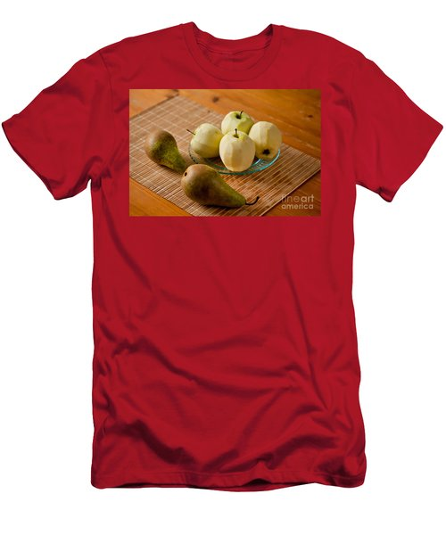 Peeled Apples On Glass Plate Men's T-Shirt (Athletic Fit)
