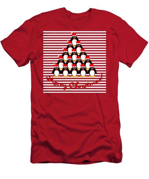 Penguin Christmas Tree N Stripes Men's T-Shirt (Slim Fit) by Methune Hively