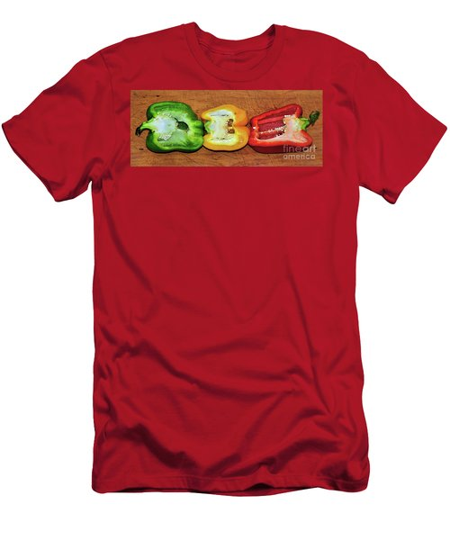 Men's T-Shirt (Slim Fit) featuring the photograph Peppers In A Row By Kaye Menner by Kaye Menner