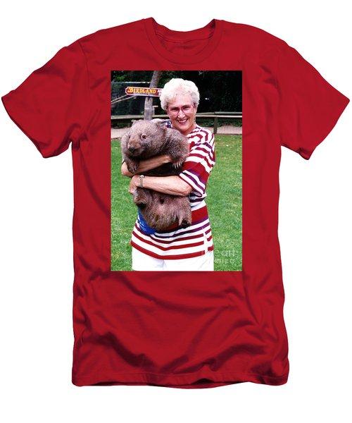 Phyllis Holding Thirty Lb Wombat Australia Men's T-Shirt (Slim Fit) by Phyllis Kaltenbach