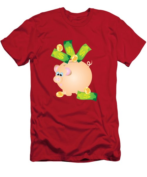 Piggy Bank With Bills And Coins Illustration Men's T-Shirt (Athletic Fit)